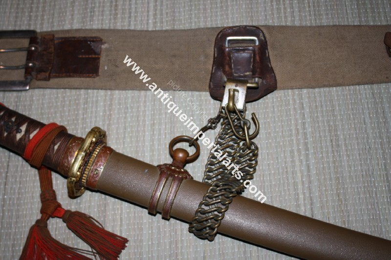 WW2 Japanese army belt and sword belt strap chain Militaria